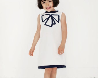 Girls dress organic cotton white sleeveless