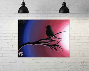 "Glowing Night - 9x12"" acrylic painting of bird at sunset"