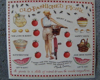 Susan Branch Sticker panel -  OLD FASHIONED PICNIC - Free Ship
