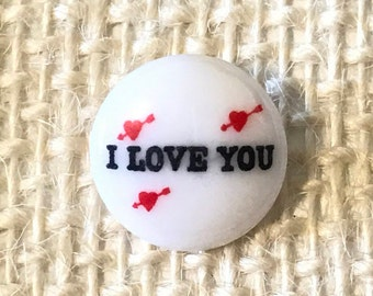 Vintage *JHB* Round [ I LOVE YOU ] pack of 12 Buttons, Great for Sewing, Decoration, Craft supplies, etc.
