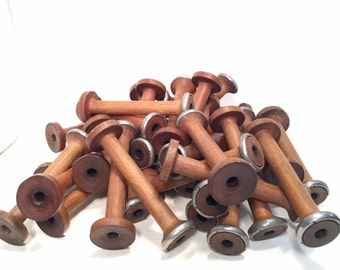 Spools Wood & Metal Small Primitive Industrial Textile Spinning Bobbins Lot of 36