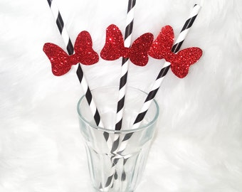 Minnie Glitter Bow Party Straws, Birthday Party Supplies, Paper Straws, Minnie Party Decorations, Red Black and White Party Decor