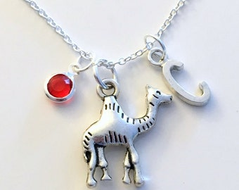 Camel Necklace, Gift for African Safari Jewelry Desert Animal Silver charm Initial Birthstone present Short Long Chain Sterling Girl Woman