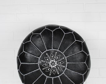 Moroccan Pouffe, Black and Silver
