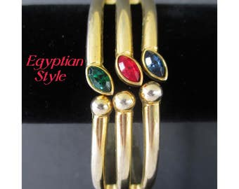 Clamp Bracelet * Colored Stones * Openwork * Egyptian Style * Classic 1970s Cuff Bracelet