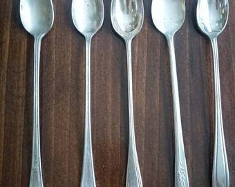 Set of five silverplate teaspoons