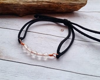 Rose Quartz Beads, Copper & Genuine Suede Leather Adjustable Bracelet / Maine Jewelry / Gift for Her / Pink Quartz / Copper Wire / Gemstones