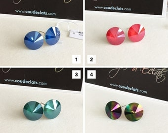 """Swarovski® and Silver 925 - Selection """"Opaque"""" #1 studs"""