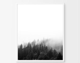 Black and White Landscape Photo Fog Forest Mountain Nordic Nature Print Scandinavian Poster Minimalist art Minimal Wall Decor Trees Modern
