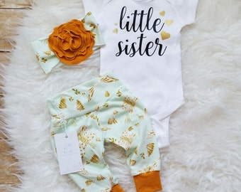 Baby Girl Outfit  Coming Home Outfit Little Sister Outfit Organic Baby Girl Outfit Baby Shower Gift New Baby Gift