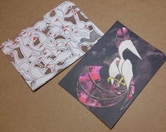 Postcard Print Illustrations Papercut Phoenix and Runner Ducks