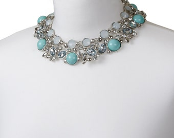 Silver & Mint Green Pastel Jewel Encrusted Collar Necklace | 50% OFF