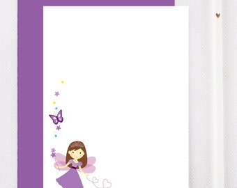 Fairy personalized stationary set for girls, girls personalized stationery, kids notecards, kids thank you cards, fairy note cards, FA102