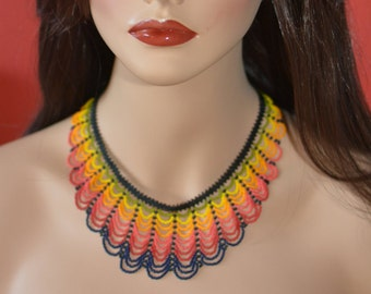 Chaquira handbeaded necklace, handmade in Mexico,  multicolor, huichol