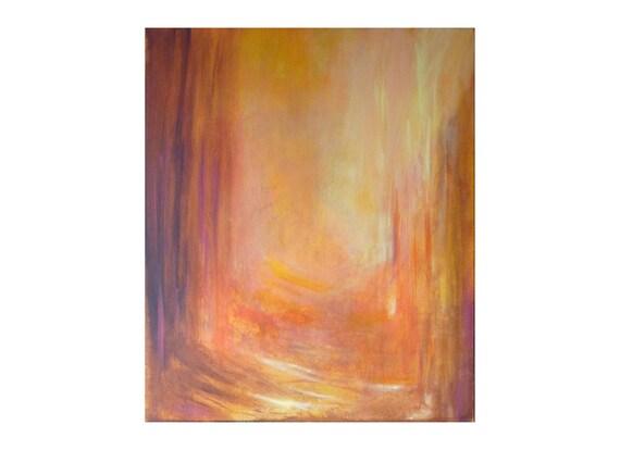 Tableau Jaune Ocre Orange Abstrait Moderne Lumineux Couleurs