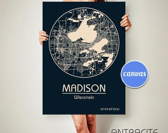 MADISON Wisconsin CANVAS Map Madison Wisconsin Poster City Map Madison Wisconsin Art Print Madison Wisconsin