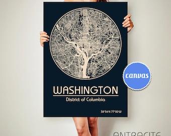 WASHINGTON DC CANVAS Map Washington District Columbia Poster City Map Washington Utah Art Print Washington District Columbia poster
