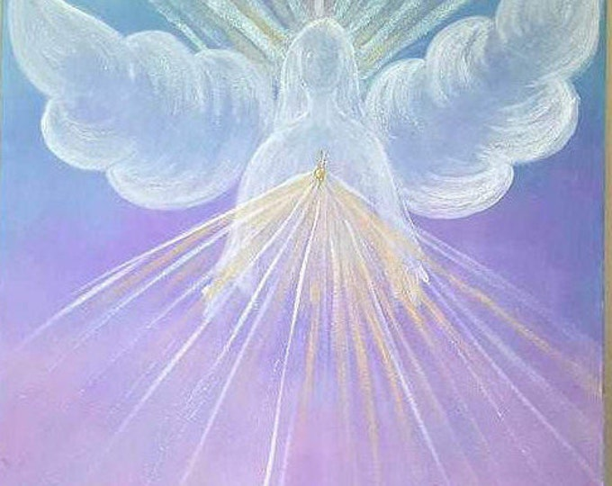 Angel of Blessings - large size LIMITED EDITION- 20 x 20 inch, Original art, handmade, sparkle finish, Reiki Charged, healing, Wall decor.