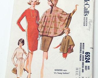 McCalls 1960s Slim Dress & Hooded Cape Pattern Bust 36