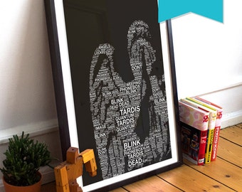 Doctor Who Weeping Angel Blink Illustration Word Art Large Poster Print Giclee on Satin or Cotton Canvas Typography Whovian Minimalist