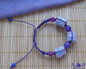 Purple bracelet jade jewelry macrame bracelet summer jewelry pretty gift for daughter Floral bracelet braided bracelet embroidered jewelry