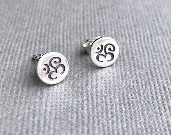 Tiny Silver Ohm Earrings, Sterling Studs, Round Stamped Disk, Delicate Dainty, Solid 925 Silver Posts, Stud Earrings, Everyday, Yoga Om