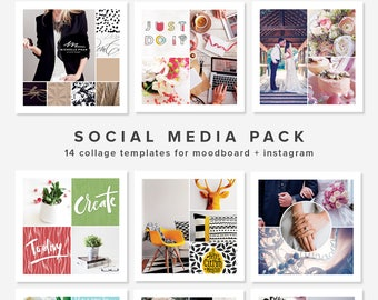 14 Square Photo Collage Templates : Moodboard Template, Instagram Templates, Blogging, Pinterest, Photo Album – PSD Layers INSTANT DOWNLOAD