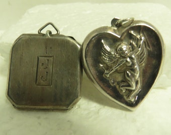 2 Vintage Sterling Silver Lockets Hand Engraved & Repousse
