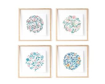 4 Prints: Mandala Print, Botanical Mandala, Zen Botanical Illustration, Wedding favors idea, floral prints, gift idea for wedding guests.