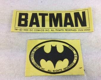 Vintage 1989 Batman Patch Set - Sew on Patch - DC Comics