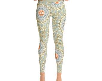 Fitness Leggings - Green and Orange Mandala Art Leggings, Boho Yoga Tights, Stretchy Yoga Pants