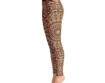 Chocolate Brown Yoga Leggings. Brown Leggings. Brown and White Printed Leggings. Mandala Art Tights. Brown Stretch Pants