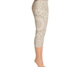 Capris - Khaki Yoga Pants, Cream Leggings, Beige Leggings, Tan Leggings, Mandala Art Yoga Tights