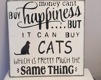 Happiness Cat funny gift shabby chic wooden sign