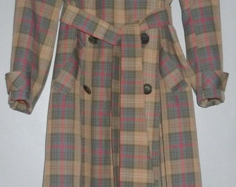 Vintage 1970's Aquascutum Ladies Classic Wool Trench Coat UK 10 - 14 FREE UK Shipping