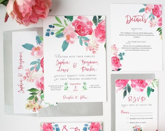 Floral Wedding Invitations - Pink - Wedding Invitations - Romantic Watercolor Floral Collection Sample Set