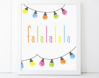 Falala Holiday Christmas Printable Wall Art 8x10, 5x7, 11x14, Holiday Printable Decor, Christmas Decor, Holiday Print, Holiday Decor