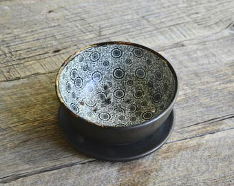 Ceramic berry bowl colander with black flowers