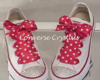 Junior Custom Crystal *Bling* Converse Red Spot Laces Sizes 11-2