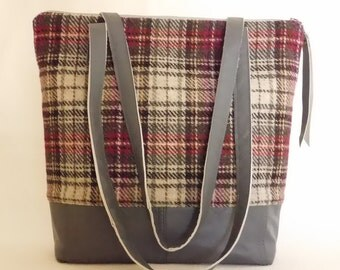 Repurposed grey leather and red & oatmeal wool plaid shoulder bag