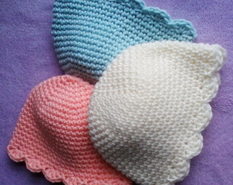 Crocheted scalloped hat newborn -3 months or 3-9 months
