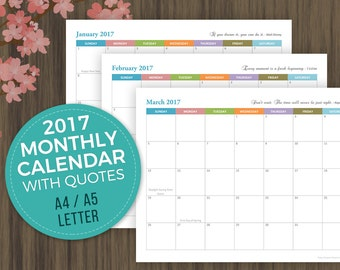 2017 Monthly Calendar, Planner Printable, Monthly Agenda, Monthly Planner, Desktop Monthly Calendar, A5 Monthly Planner, A4, Letter Size