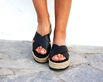 Black leather platform sandals slipons strap espadrilles minimal style