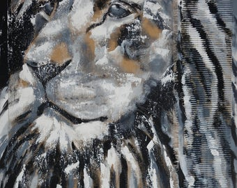 "Lion XXL 39 x 55"" black & white big size abstract art canvas painting handpainted original animal  lion head africa"