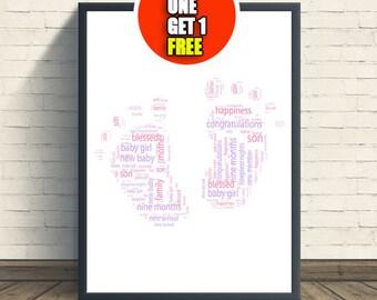 Baby feet personalised art print,  baby print, baby artwork