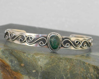 Mexico ART-PLAT Green Turquoise 925 Sterling Silver Vintage Cuff Bracelet Eagle 4