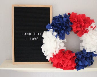 FREE SHIPPING* Red White Blue Fabric Wreath