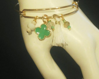 Gold tone Bangle Charm Bracelet Handmade Jewelry Beachwear #36