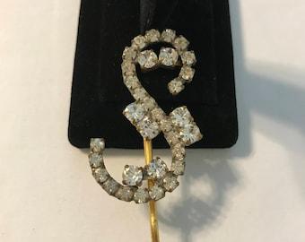 Vintage Crystal Rhinestone Hair Pin, Crystal Clear Rhinestone Bobby Pin, Crystal Hair Accessory, Bridal Bobby Pin, Estate Jewelry