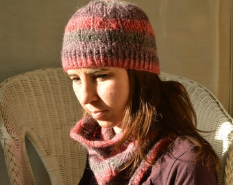 Hat and cowl set, hand knitted hat and cowl, gift for women